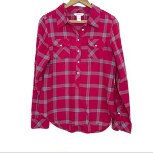 Sundance Pink and Blue Plaid Flannel Popover Top